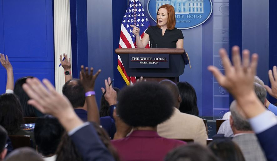 White House press secretary Jen Psaki speaks during the daily briefing at the White House in Washington, Friday, July 9, 2021. (AP Photo/Susan Walsh)