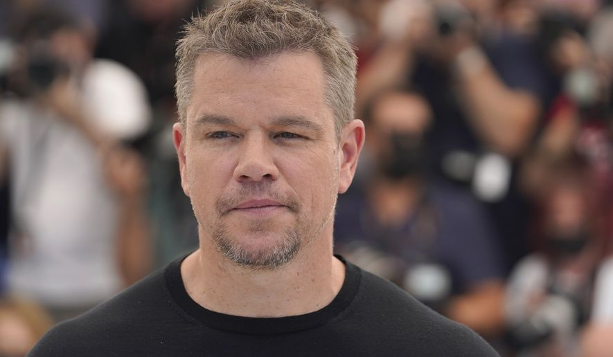 Matt Damon poses for photographers at the photo call for the film 'Stillwater' at the 74th international film festival, Cannes, southern France, Friday, July 9, 2021. (AP Photo/Brynn Anderson)