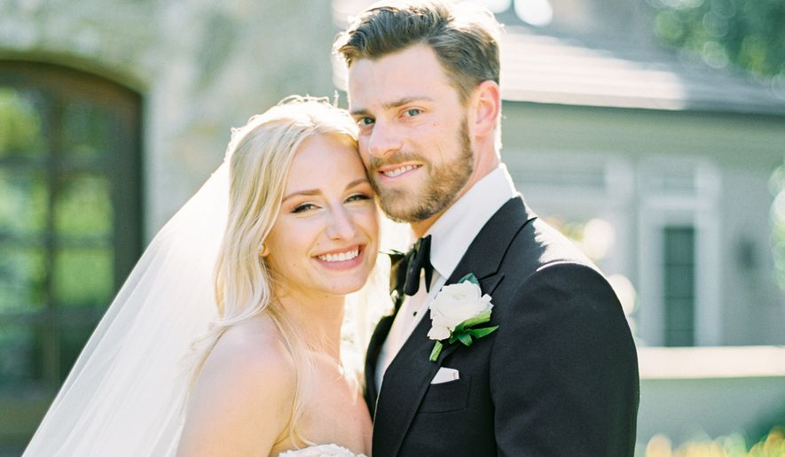 Some wedding planners estimate that 40% of their events went hybrid during pandemic months. Hybrid weddings like Teresa and Christian's, pictured here, became popular during the pandemic and could stick around even beyond the pandemic as a way to cut down on costs and accommodate more guests. (Photo courtesy of Amorology Weddings)