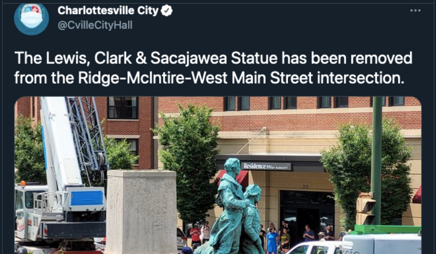 Screen capture from the City of Charlottesville's Twitter feed about the July 10, 2021 removal of a statue dedicated to explorers Merriwether Lewis, William Clark, and their Native American guide Sacagawea. (Twitter.com/CvilleCityHall)