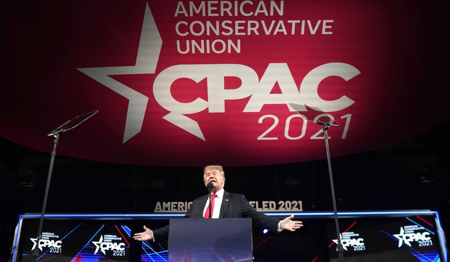 Former President Donald Trump speaks at the Conservative Political Action Conference (CPAC) Sunday, July 11, 2021, in Dallas. (AP Photo/LM Otero)