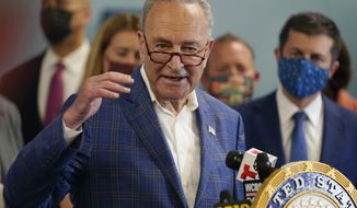 New York Sen. Chuck Schumer speaks during a news conference in New York, Monday, June 28, 2021. Schumer on Sunday, July 11, 2021 called on the Justice Department to investigate the National Rifle Association for bankruptcy fraud, saying the financially stable gun-rights group abused the system when it sought bankruptcy protection in the wake of a New York lawsuit seeking to put it out of business. (AP Photo/Seth Wenig, file)