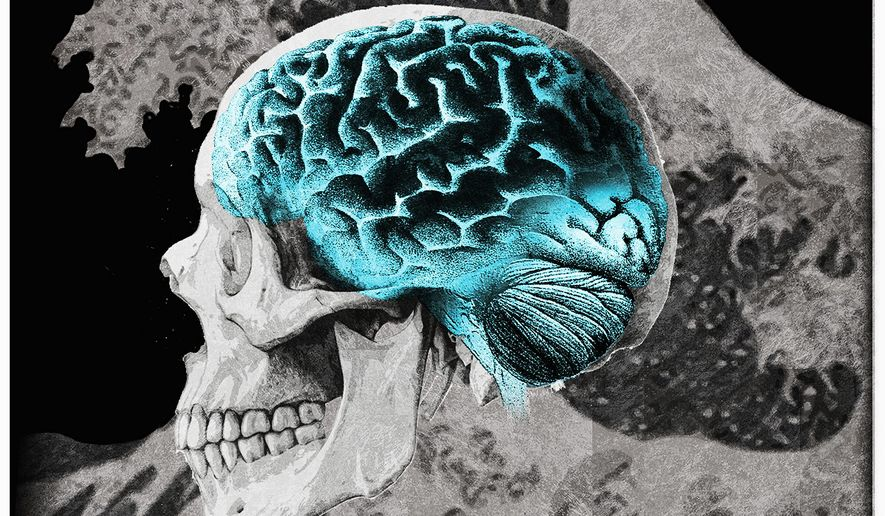 Illustration on the coming need for Alzheimer's care by Alexander Hunter/The Washington Times