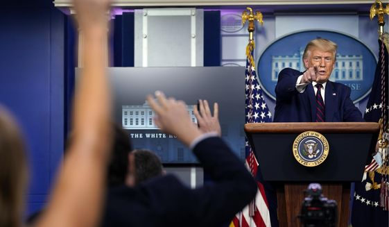 Then-President Trump faces reporters during a news conference at the White House on Sept. 4, 2020. (Associated Press)