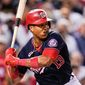 Washington Nationals' Starlin Castro waits for a pitch from the Los Angeles Dodgers during the sixth inning of a baseball game, Friday, July 2, 2021, in Washington. (AP Photo/Julio Cortez)