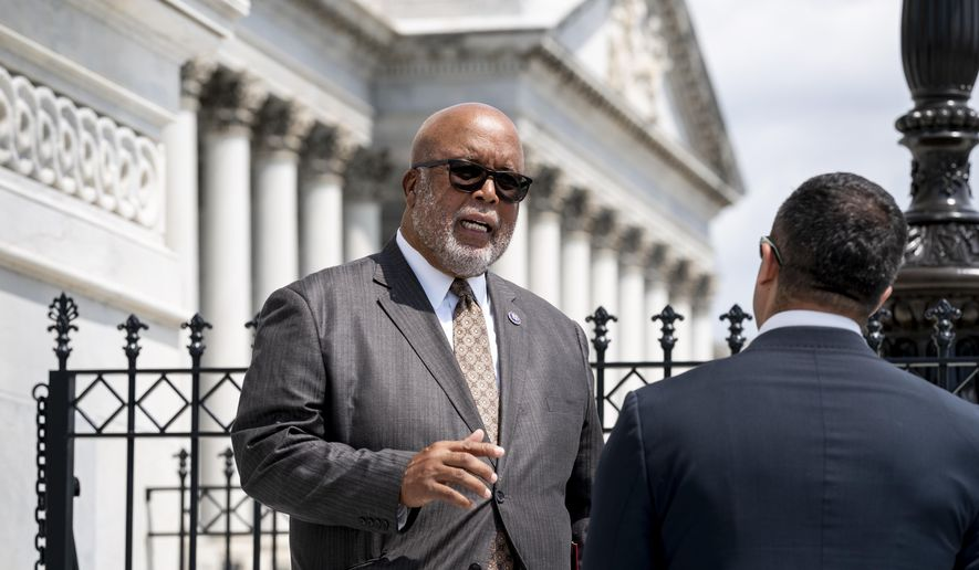 Rep. Bennie Thompson, chairman of the House Homeland Security Committee, departs the Capitol after Speaker of the House Nancy Pelosi, D-Calif., appointed him to lead the new select committee to investigate the violent Jan. 6 insurrection at the Capitol, in Washington, Thursday, July 1, 2021. The probe will examine what went wrong around the Capitol when hundreds of supporters of then-President Donald Trump broke into the building, hunted for lawmakers and interrupted the congressional certification of Democrat Joe Biden's election victory. (AP Photo/J. Scott Applewhite) **FILE**