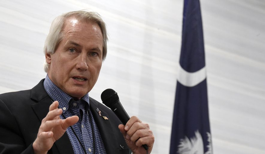 In this April 30, 2021, file photo, pro-Trump attorney L. Lin Wood, a candidate for chairman of the South Carolina Republican Party, speaks to attendees of the Richland County GOP convention in Columbia, S.C. (AP Photo/Meg Kinnard, File)