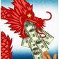 Illustration on China's money influence by Alexander Hunter/The Washington Times