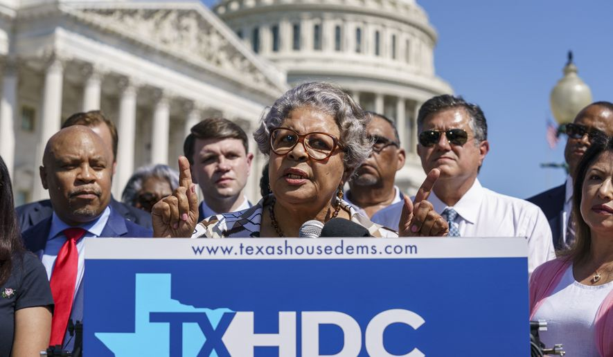Texas State Rep. Senfronia Thompson, dean of the Texas House of Representatives, speaks as Democratic members of the Texas legislature hold a news conference at the Capitol in Washington, Tuesday, July 13, 2021. The Democrats left Austin to deprive the Legislature of a quorum as they try to kill a Republican bill making it harder to vote in the Lone Star State. (AP Photo/J. Scott Applewhite)