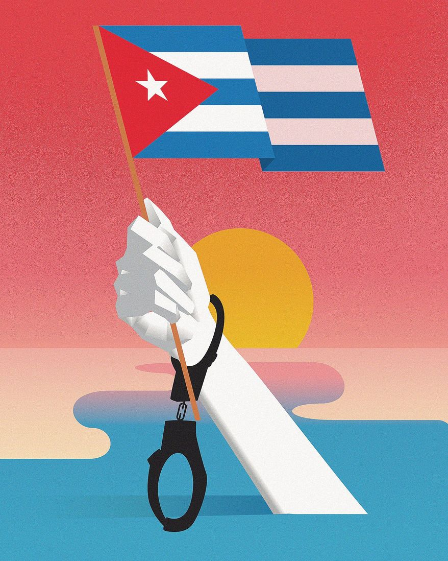 Illustration on the Cuban freedom by Linas Garsys/The Washington Times