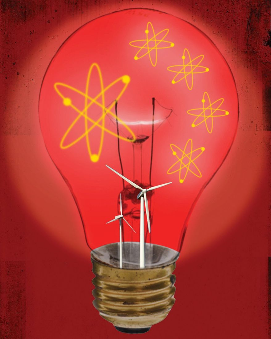 Illustration on China's nuclear power position in competition with America by Linas Garsys/The Washington Times