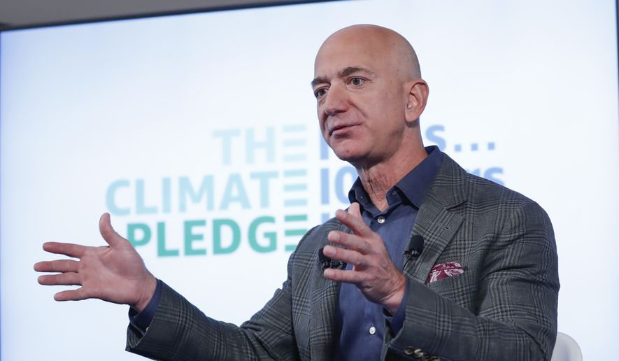 This Sept. 19, 2019, file photo shows Jeff Bezos speaking at the National Press Club in Washington. The Smithsonian Institution announced July 14, 2021, that Bezos, founder of Amazon and space-flight company Blue Origin, is donating $200 million to the National Air and Space Museum. (AP Photo/Pablo Martinez Monsivais) ** FILE **