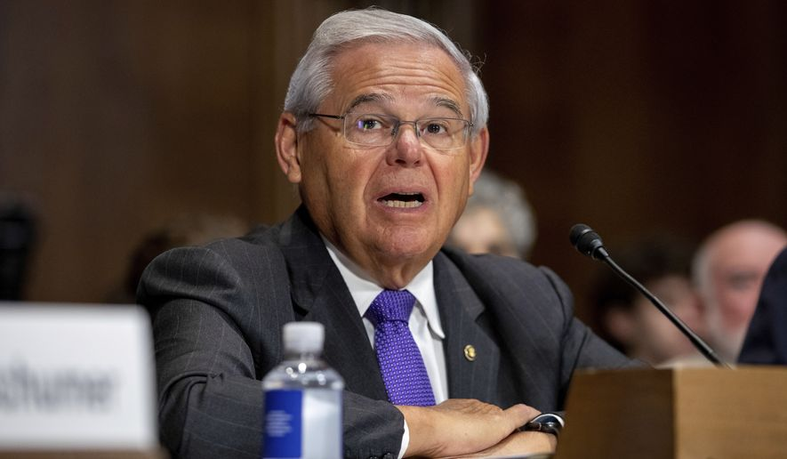 Sen. Robert Menendez, D-N.J., speaks to members of the Senate Judiciary Committee during a hearing on Capitol Hill in Washington on Wednesday, July 14, 2021. (AP Photo/Amanda Andrade-Rhoades)