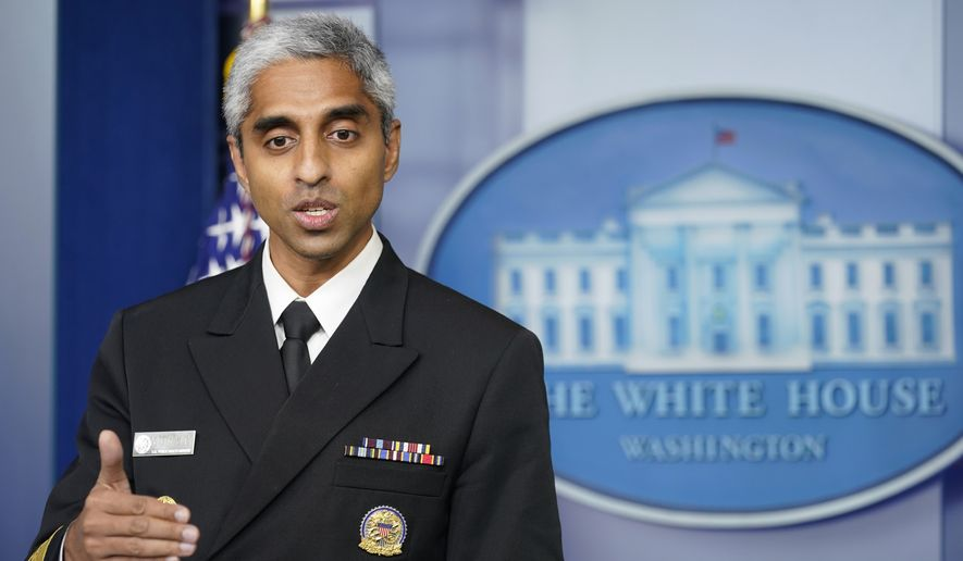 Surgeon General Dr. Vivek Murthy speaks during the daily briefing at the White House in Washington, Thursday, July 15, 2021. (AP Photo/Susan Walsh) **FILE**