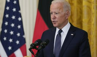 President Joe Biden speaks during. News conference with German Chancellor Angela Merkel in the East Room of the White House in Washington, Thursday, July 15. (AP Photo/Susan Walsh)