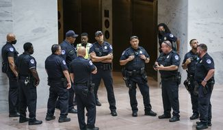 U.S. Capitol Police officers assemble in the Hart Senate Office Building, on Capitol Hill to prepare for a demonstration by voting rights advocates, in Washington, Thursday, July 15, 2021. (AP Photo/J. Scott Applewhite)