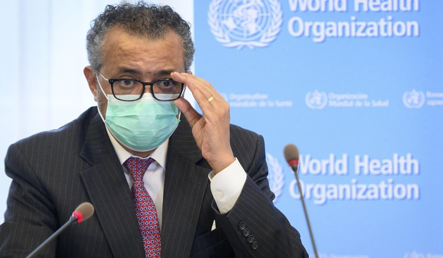 In this Monday, May 24, 2021 file photo, Tedros Adhanom Ghebreyesus, Director General of the World Health Organization (WHO), speaks at the WHO headquarters, in Geneva, Switzerland. The head of the World Health Organization said Thursday, July 15 that he is asking China to be more transparent as scientists search for the origins of the coronavirus and acknowledged it was premature to rule out that the pandemic may have been linked to a laboratory leak. (Laurent Gillieron/Keystone via AP, File)