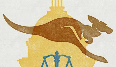 Kangaroo Congress and Pelosi/Trump impeachment Illustration by Greg Groesch/The Washington Times