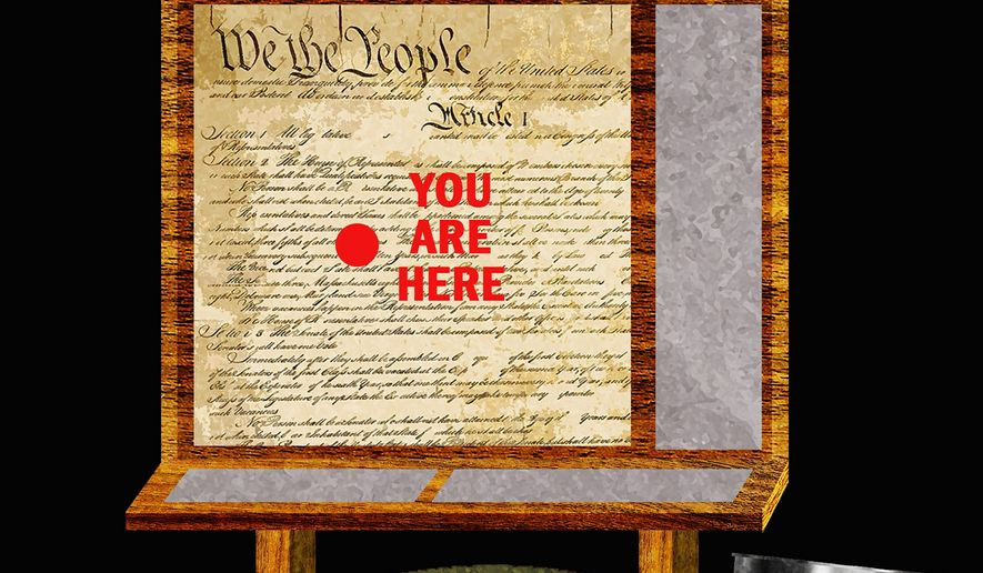 Illustration on the Constitution as a guide by Alexander Hunter/The Washington Times