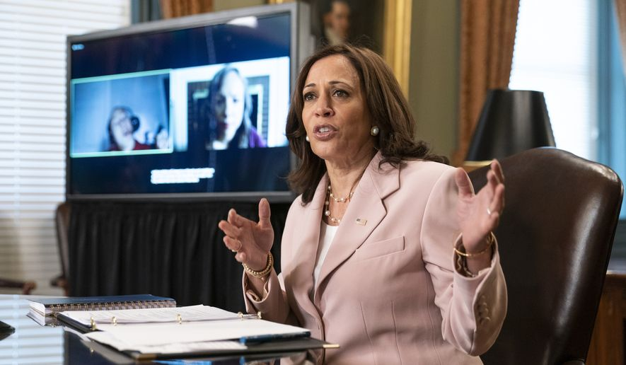 In this Wednesday, July 14, 2021, file photo, Vice President Kamala Harris speaks during a roundtable with disabilities advocates on voting rights in the Vice President's Ceremonial Office at the Eisenhower Executive Office Building on the White House complex in Washington. (AP Photo/Manuel Balce Ceneta, File)