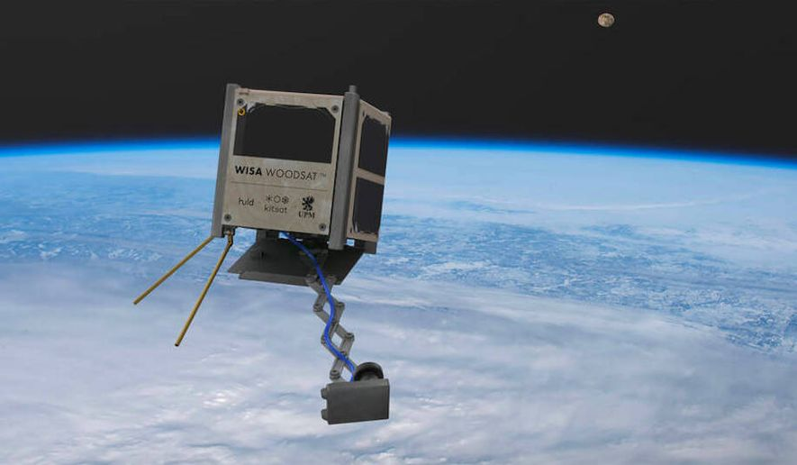 The wee WISA Woodsat — a satellite built of birch plywood — has successfully completed an inaugural trip to space and will embark on a serious mission in November. (Image courtesy of UPM)