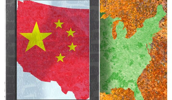 Illustration on America and anti-trust law favoring China by Alexander Hunter/The Washington Times