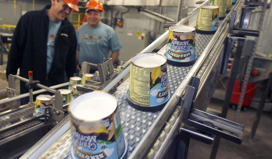 FILE  In this March 23, 2010 file photo ice cream moves along the production line at Ben & Jerry's Homemade Ice Cream, in Waterbury, Vt. Ben & Jerry's ice cream said Monday, July 19, 2021, it was going to stop selling its ice cream in the occupied Palestinian territories.(AP Photo/Toby Talbot, File)