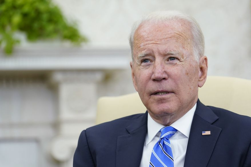 President Joe Biden speaks during his meeting with Jordan's King Abdullah II in the Oval Office of the White House in Washington, Monday, July 19, 2021. (AP Photo/Susan Walsh)
