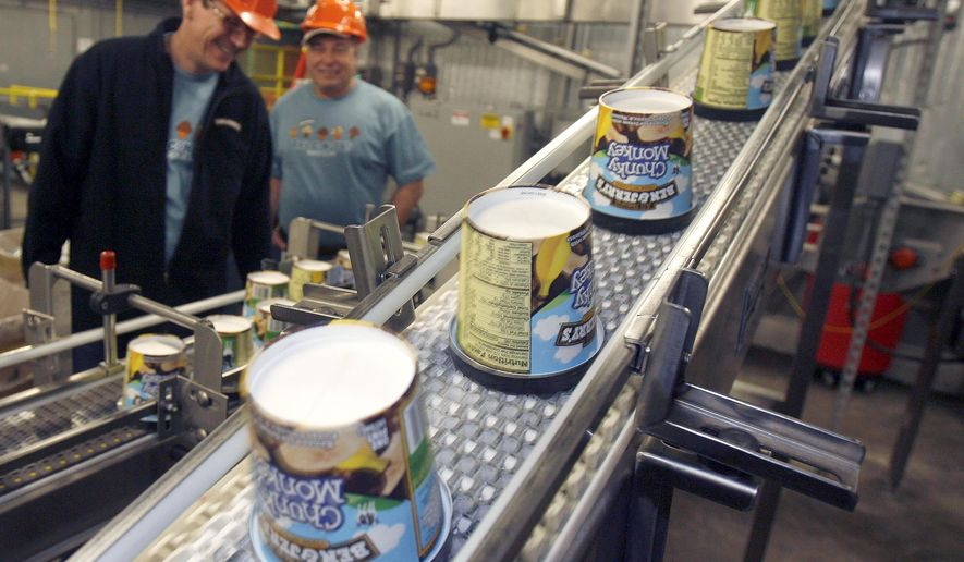 FILE — In this March 23, 2010 file photo ice cream moves along the production line at Ben & Jerry's Homemade Ice Cream, in Waterbury, Vt. Ben & Jerry's ice cream said Monday, July 19, 2021, it was going to stop selling its ice cream in the occupied Palestinian territories.(AP Photo/Toby Talbot, File)