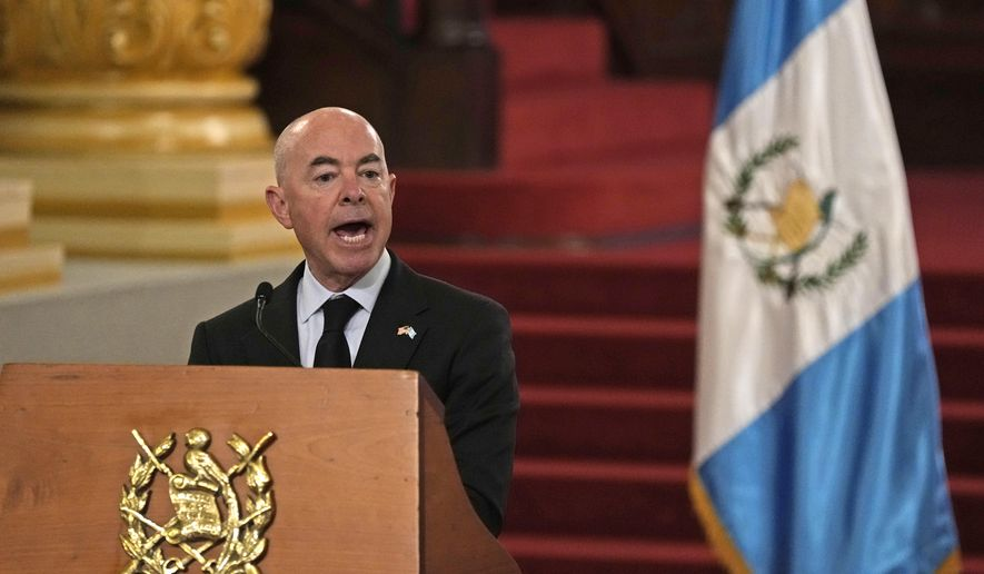 U.S. Secretary of Homeland Security Alejandro Mayorkas speaks during a press conference with Guatemala's Foreign Minister Pedro Brolo in Guatemala City, Tuesday, July 6, 2021. Mayorkas is in Guatemala for a two-day visit. (AP Photo/Moises Castillo) **FILE**