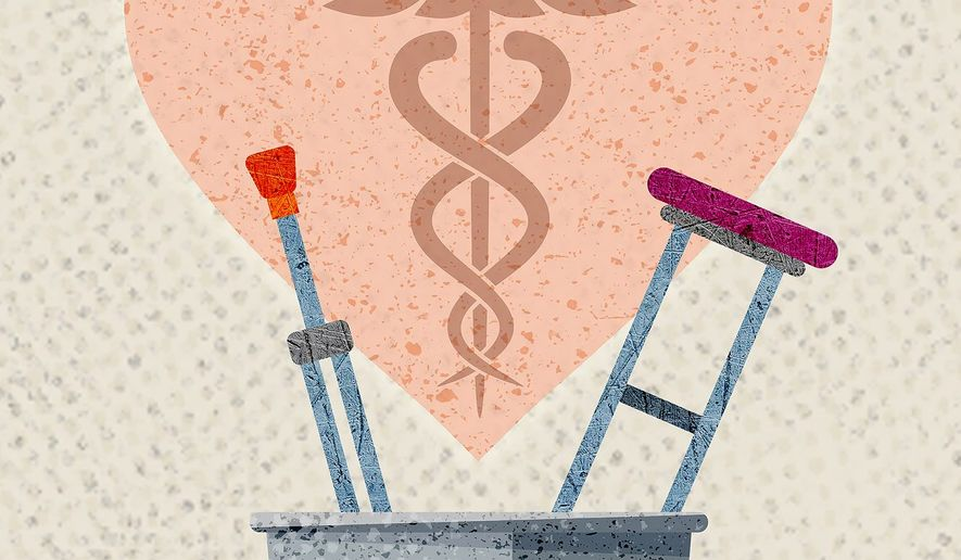 Hip Replacement and health care Illustration by Greg Groesch/The Washington Times