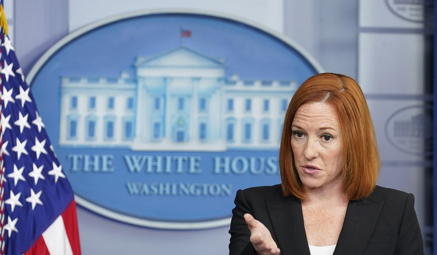 White House press secretary Jen Psaki speaks during the daily briefing at the White House in Washington, Tuesday, July 20, 2021. (AP Photo/Susan Walsh)