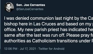 Screen capture from the Twitter feed of New Mexico state Senator Joe Cervantes, taken July 20, 2021. (Twitter.com/SenJoeCervantes)