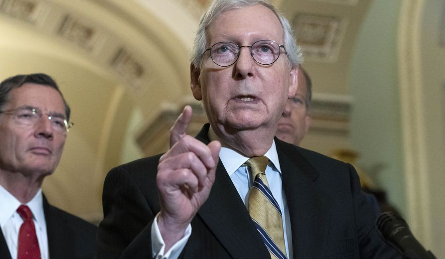 Senate Minority Leader Mitch McConnell, R-Ky., speaks to the media after a GOP policy luncheon, on Capitol Hill i on Capitol Hill in Washington, Tuesday, July 20, 2021. (AP Photo/Jose Luis Magana)