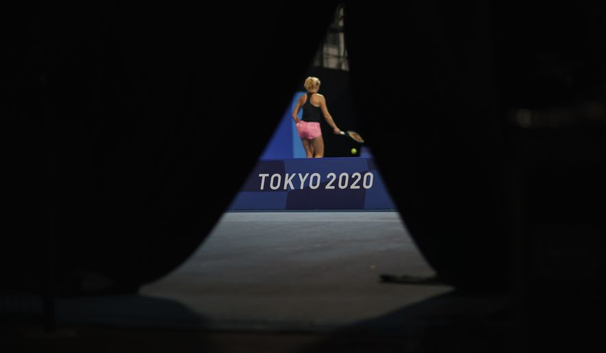 Katerina Siniakova, of the Czech Republic, practices at the Ariake Tennis Center at the 2020 Summer Olympics, Tuesday, July 20, 2021, in Tokyo. (AP Photo/David Goldman)