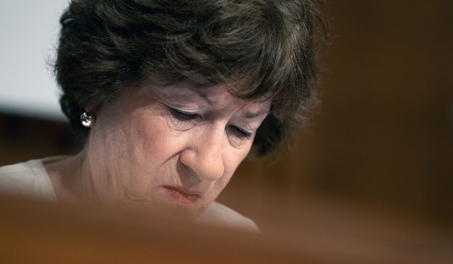 """""""There's absolutely no reason why he asked to have the vote tomorrow, and it does not advance the ball,"""" said Sen. Susan Collins, a Maine Republican at the forefront of the talks. """"It does not achieve any goal except to alienate people."""" (Stefani Reynolds/The New York Times via AP, Pool)"""