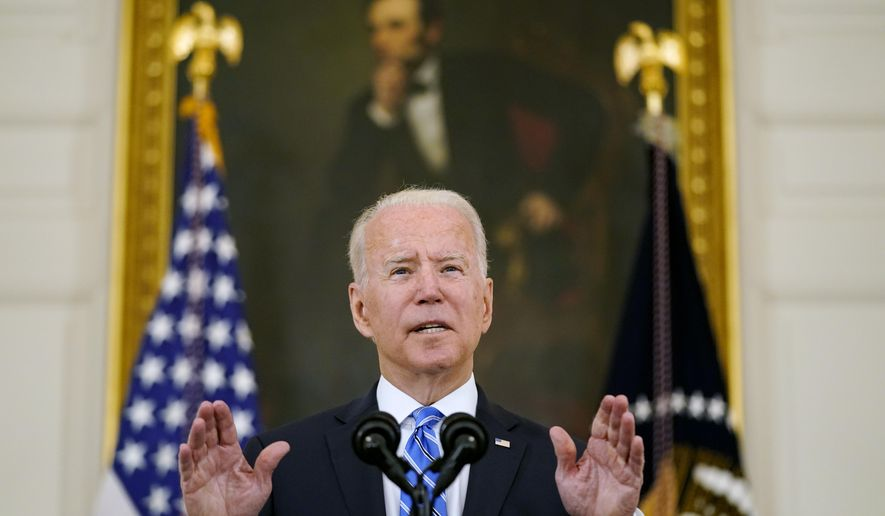 President Joe Biden speaks about the economy and his infrastructure agenda in the State Dining Room of the White House, in Washington, Monday, July 19th, 2021. (AP Photo/Andrew Harnik)  **FILE**
