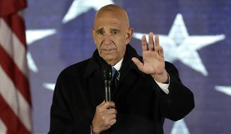 """This photo from Thursday Jan. 19, 2017, shows Inaugural Committee chairman Tom Barrack speaks at a pre-Inaugural """"Make America Great Again! Welcome Celebration"""" at the Lincoln Memorial in Washington. Barrack, chair of former President Donald Trump's 2017 inaugural committee, was arrested Tuesday, July 20, 2021, in California on charges alleging that he and others conspired to influence Trump's foreign policy positions to benefit the United Arab Emirates. (AP Photo/David J. Phillip, File)"""