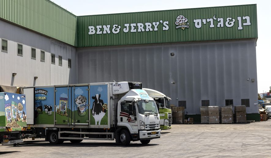 Trucks are parked at the Ben & Jerry's ice-cream factory in the Be'er Tuvia Industrial area in Israel in this Tuesday, July 20, 2021, in this file photo. (AP Photo/Tsafrir Abayov)  **FILE**