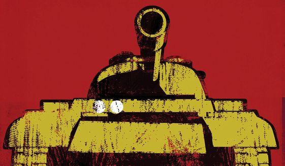 China attacking United States illustration by Linas Garsys / The Washington Times
