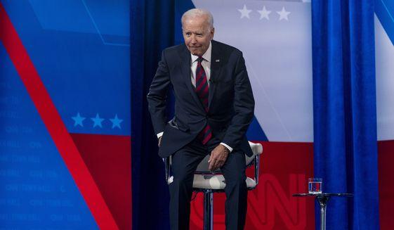 President Joe Biden appears at CNN town hall at Mount St. Joseph University in Cincinnati, Wednesday, July 21, 2021. (AP Photo/Andrew Harnik)