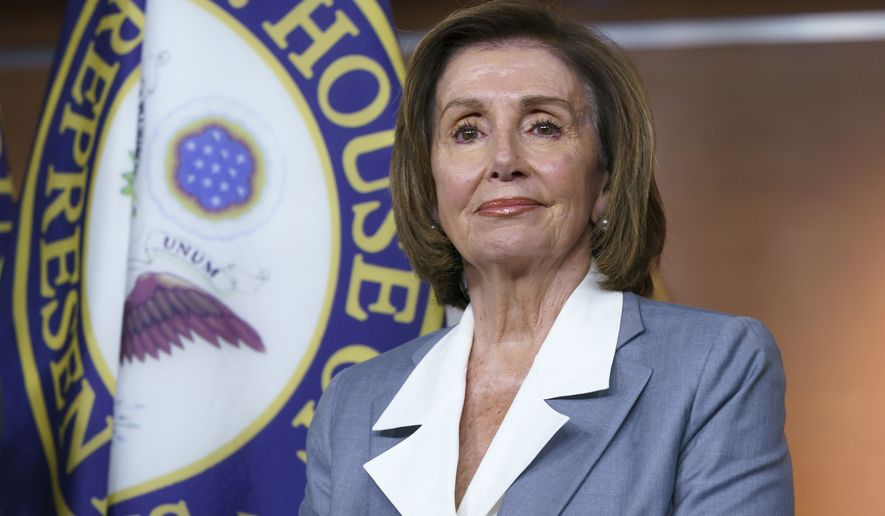"""In this June 30, 2021 file photo, Speaker of the House Nancy Pelosi, D-Calif., listens at a news conference as the House prepares to vote on the creation of a select committee to investigate the Jan. 6 insurrection, at the Capitol in Washington. Pelosi is rejecting two Republicans tapped by House GOP Leader Kevin McCarthy to sit on a committee investigating the Jan. 6 Capitol insurrection. She cited the """"integrity"""" of the investigation. Pelosi said in a statement Wednesday that she would not accept the appointments of Indiana Rep. Jim Banks, whom McCarthy picked to be the top Republican on the panel, or Ohio Rep. Jim Jordan. Both are close allies of former President Donald Trump.  (AP Photo/J. Scott Applewhite)  **FILE**"""