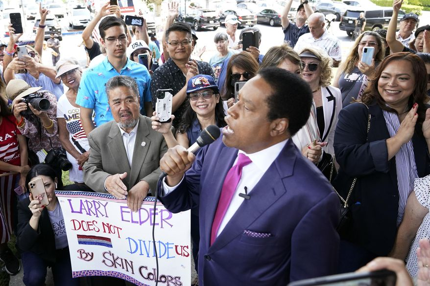 Conservative radio talk show host Larry Elder speaks to supporters during a campaign stop in Norwalk, Calif. (AP Photo/Marcio Jose Sanchez, File)