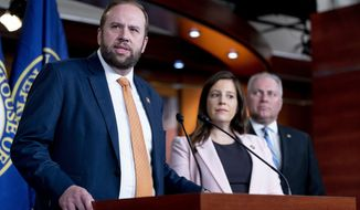 House Budget Committee ranking member Rep. Jason Smith, R-Mo., left, accompanied by House Republican Conference Chair Rep. Elise Stefanik, R-N.Y., second from right, and House Minority Whip Steve Scalise, R-La., right, speaks at a news conference on Capitol Hill in Washington, Tuesday, June 15, 2021. (AP Photo/Andrew Harnik)