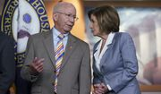 House Transportation and Infrastructure Committee Chair Peter DeFazio, D-Ore., left, talks to Speaker of the House Nancy Pelosi, D-Calif., during a news conference. (AP Photo/J. Scott Applewhite)