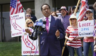 In this July 13, 2021 file photo radio talk show host Larry Elder speaks to supporters during a campaign stop in Norwalk, Calif.  (AP Photo/Marcio Jose Sanchez, File)  **FILE**