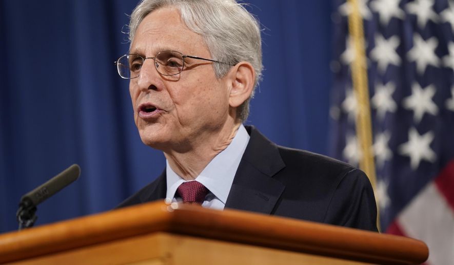 In this June 25, 2021, file photo, Attorney General Merrick Garland speaks during a news conference at the Department of Justice in Washington. The Justice Department is launching gun strike forces in five cities in the U.S. It is part of an effort to reduce spiking violent crime by addressing illegal trafficking and prosecuting offenses that help put guns in the hands of criminals. (AP Photo/Patrick Semansky, File)