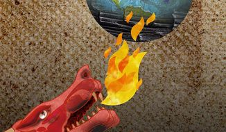 China Earth Burn and Carbon Neutral Climate Illustration by Greg Groesch/The Washington Times