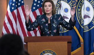 Speaker of the House Nancy Pelosi, D-Calif., meets with reporters at the Capitol in Washington, Thursday, July 22, 2021. Pelosi discussed her reasons for rejecting two Republicans chosen by House GOP leader Kevin McCarthy to be on the committee investigating the Jan. 6 Capitol insurrection. (AP Photo/Jose Luis Magana)