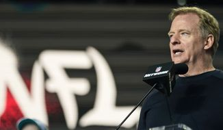 NFL Commissioner Roger Goodell announces the start of the fourth round of the NFL football draft in Cleveland, in this Saturday, May 1, 2021, file photo. Training camps are opening on time in preparation for the 2021 season after the league navigated through a pandemic to play an entire schedule and the Super Bowl in 2020. (AP Photo/Tony Dejak, File)
